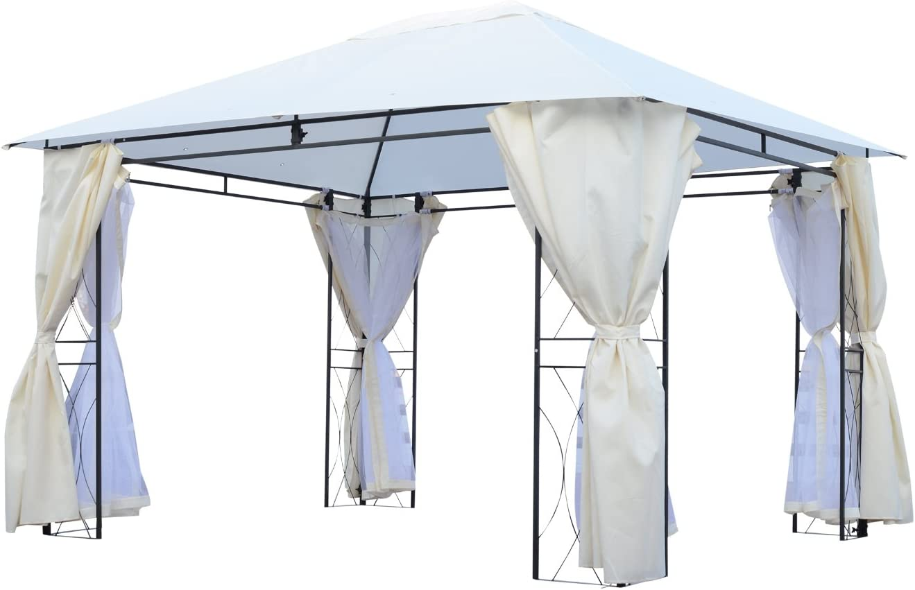 Outsunny – Carpa de jardín Pérgola para Exterior con mosquitera, Impermeable de poliéster Hierro Crema 300 x 400 cm: Amazon.es: Hogar