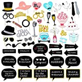 Wedding Photo Booth Props Kit, Konsait Bridal Shower Photo Booth Prop with Wooden Dowels for Wedding Shower Party Supplies (52 Counts)