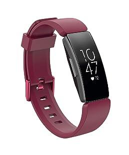 Skryo👍👍 Correa grande de silicona con banda de reloj pulsera para Fitbit Inspire/Inspire HR (Wine)