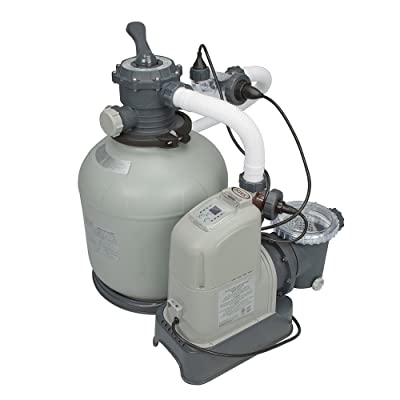 Intex 28681EG 120V 16-Inch Krystal Clear Sand Filter Pump & Saltwater System with GFCI for Pools