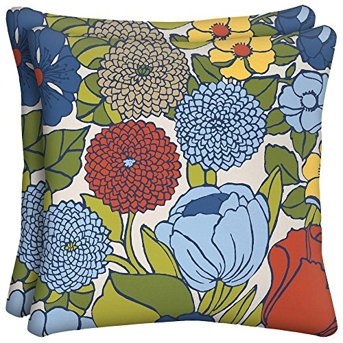 Ruthie Floral Square Outdoor Throw Pillow (2-Pack) (Hampton Pillows)
