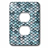 3dRose Uta Naumann Faux Glitter Pattern - Sparkling Teal Luxury Elegant Mermaid Scales Glitter Effect Artprint - Light Switch Covers - 2 plug outlet cover (lsp_267058_6)