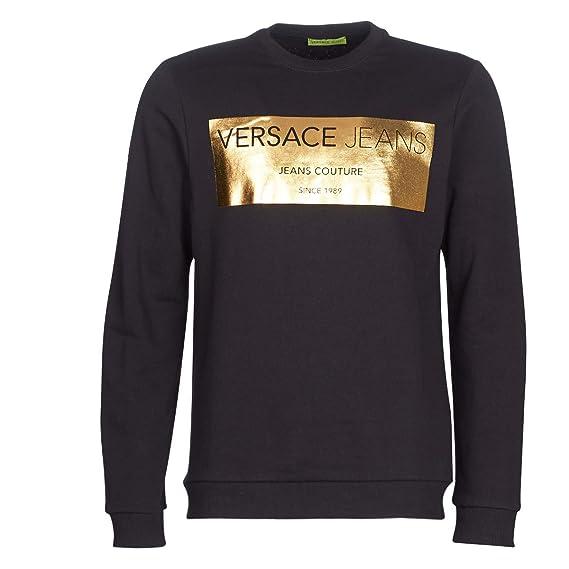 0cd84e95 Versace Jeans Gold Foil Black Crew Neck Sweat B7GSB7F7: Amazon.co.uk ...