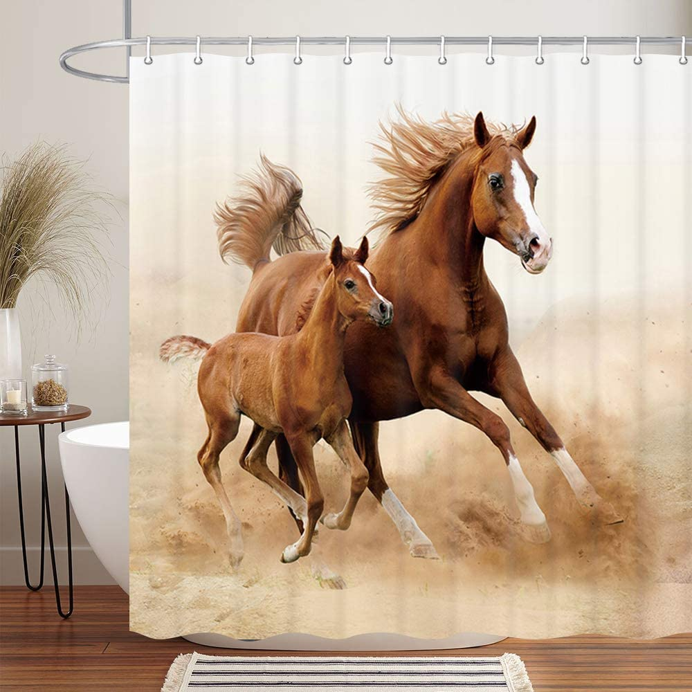 NYMB Animlas Shower Curtain Country Decor, Horses and Kids Run in Fields Farm Shower Curtains, Waterproof Fabric Bathroom Decorations, Bath Curtains Hooks 12PCS Included, 69X70 Inches, Brown