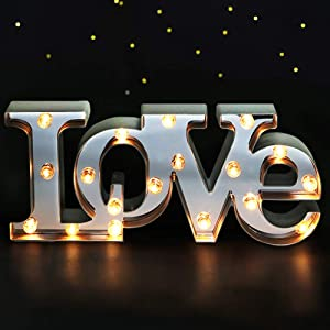 "Bright Zeal 16"" x 7"" Large Love Decor for Bedroom LED Marquee Sign (Mirror Front) - Love Wall Signs for Home Decor Wall Table Decor - Wedding Decorations Lights - Romantic Decorations Special Night"
