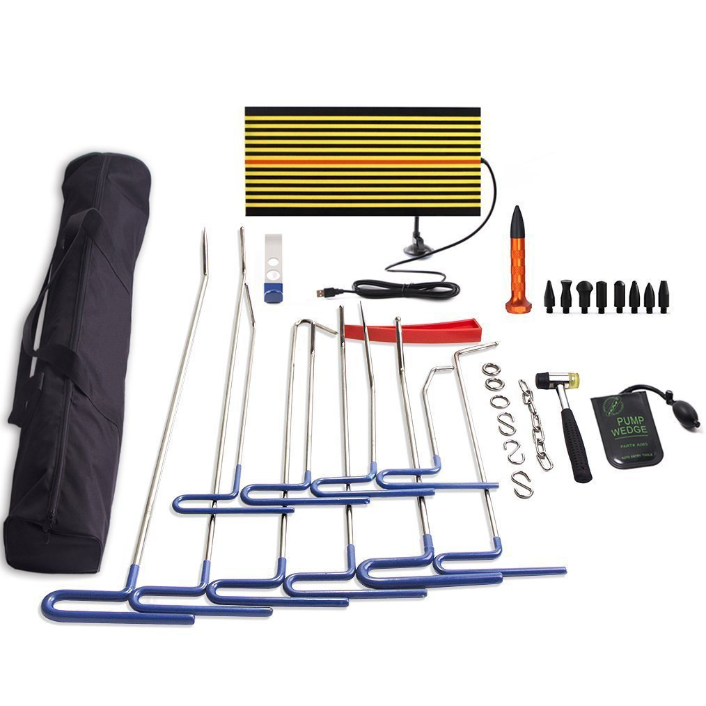 PDR Tools,32 Pcs PDR Rods Kit Set Paintless Dent Repair Rods LED Line Board Air Pump Wedge Body Hammer Tap Down for Car Dent Repair
