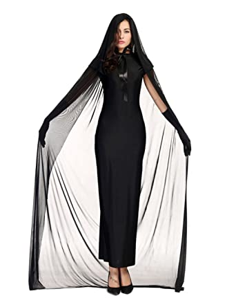 3f30790821380 Colorful House Women's Halloween Costume Black Ghost Zombie Dress Cloak  Outfit