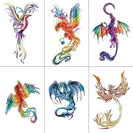 86c99575f Amazon.com: Colorful Watercolor Phoenix Dragon Temporary Tattoos for Kids  Women Hand Tatoo Sticker Body Art 9.8X6cm A-114: Toys & Games