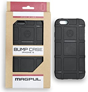 Phone Case Compatible with Apple iPhone 6/iPhone 6s, with TJS [Tempered Glass Screen Protector] Magpul Industries Bump MAG486-BLK Polymer Protector Cover Retail Packaging (Black)