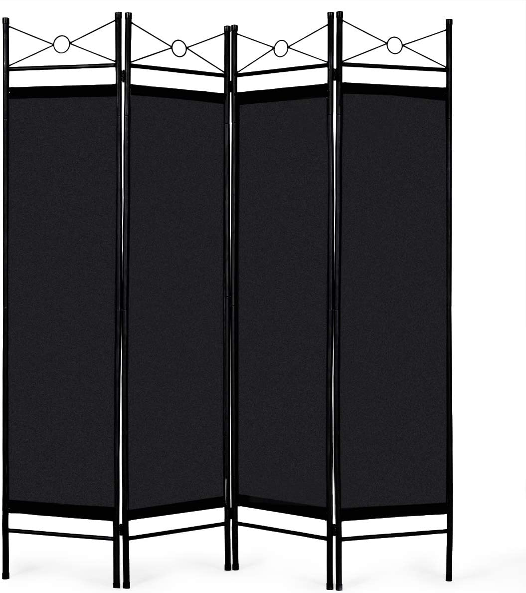 Giantex 4 Panel Room Divider Screens Steel Frame & Fabric Surface Freestanding Room Dividers and Folding Privacy Screens Home Office, Black: Furniture & Decor
