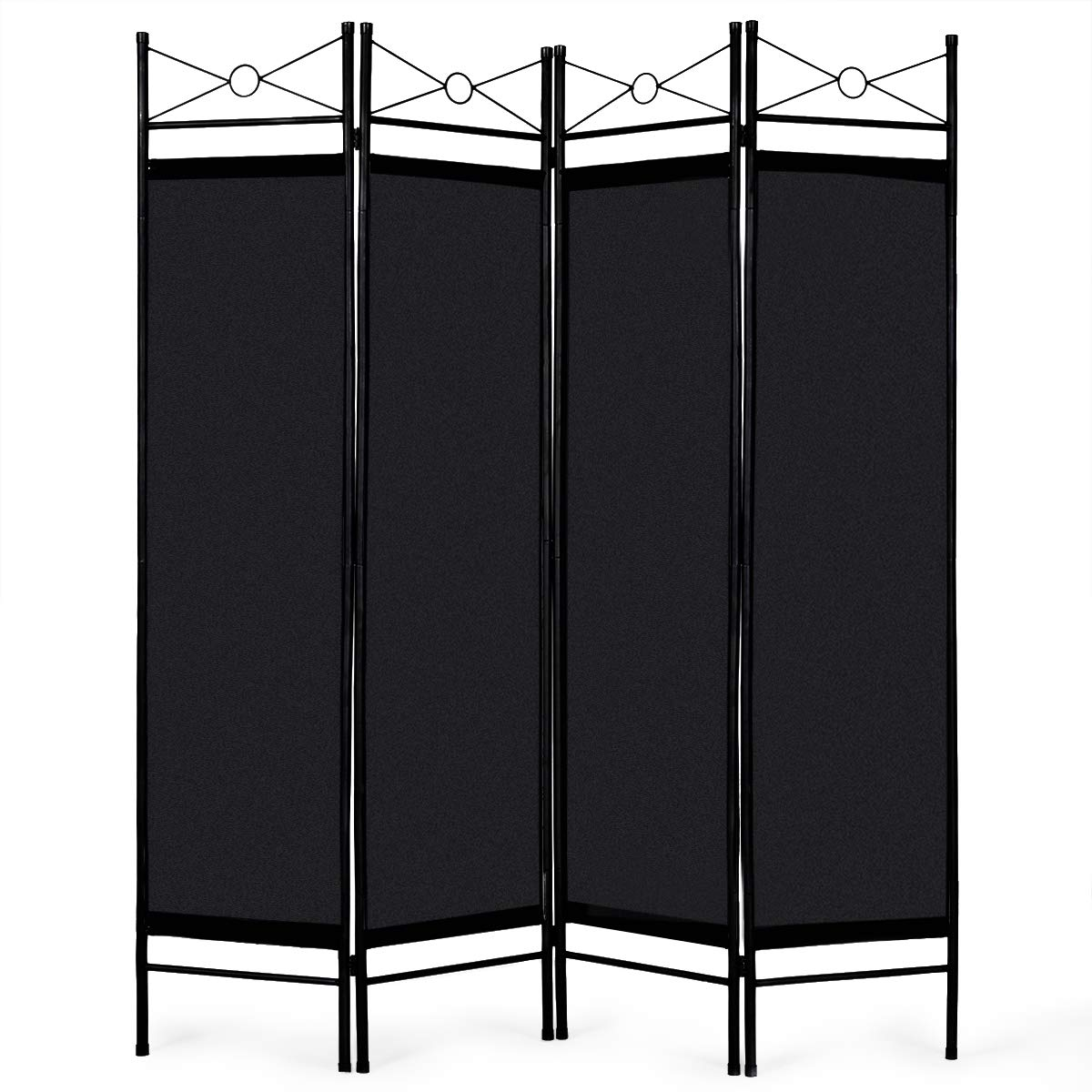 Giantex 4 Panel Room Divider Screens Steel Frame & Fabric Surface Freestanding Room Dividers and Folding Privacy Screens Home Office, Black