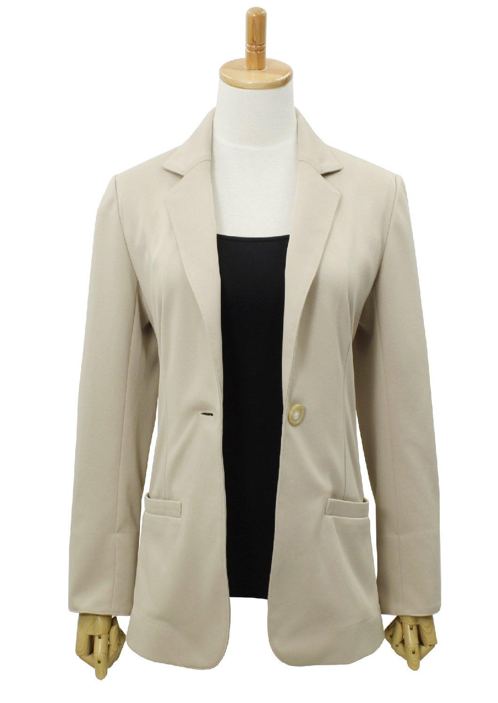 LEONIS Women's Machine Washable Lightweight Long Blazer Beige (S [4]) [ 40425 ]