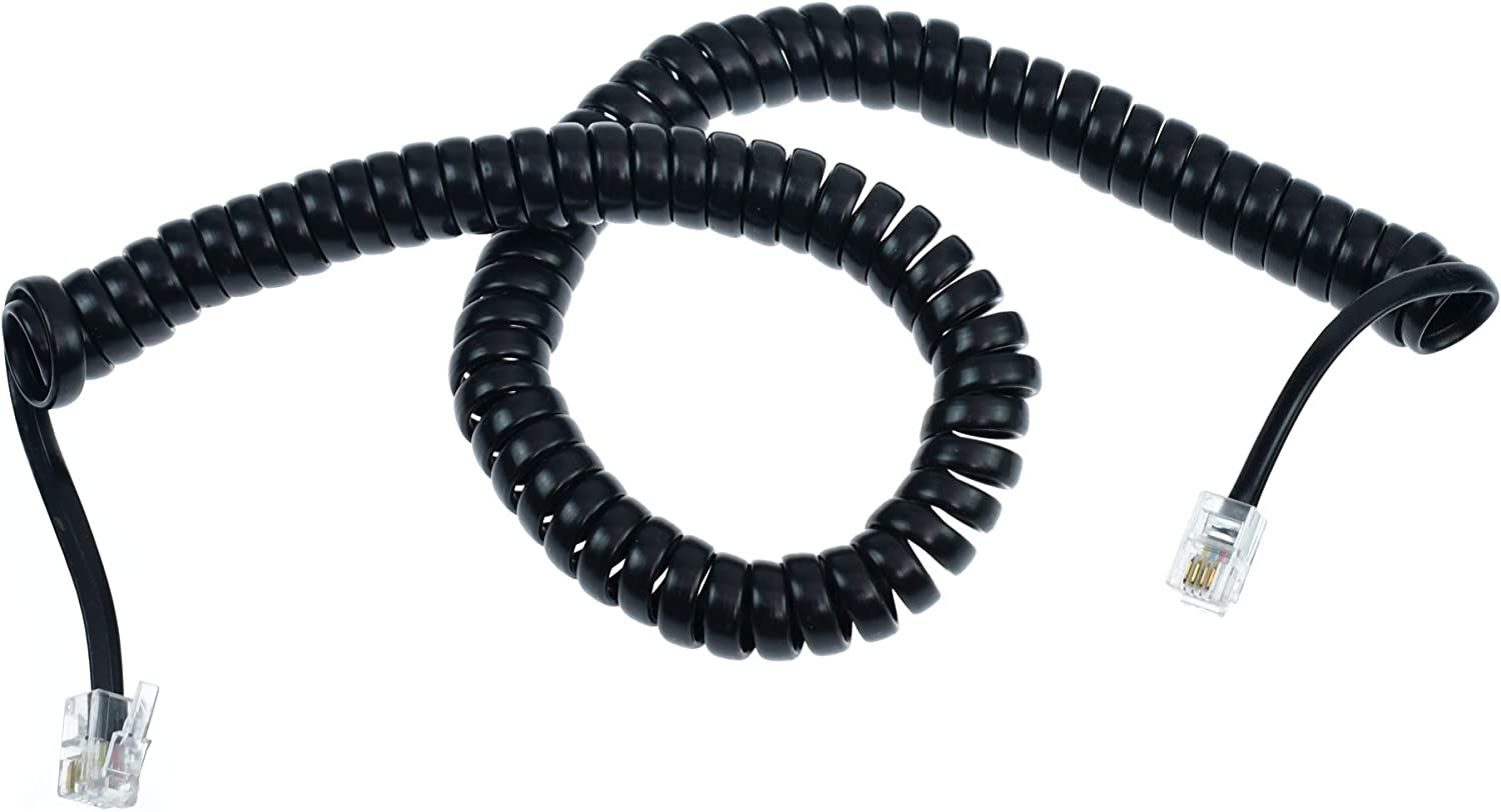 RJ10 to RJ10 4P4C BLACK Coiled Telephone Handset Cable Curly Lead Cord Wire