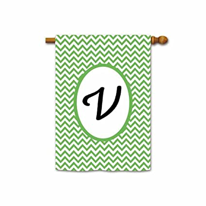 Hamory Green Stripes Monogram V House Flags Yard Banner With Initials 28x40  Inch Printed Both Sides