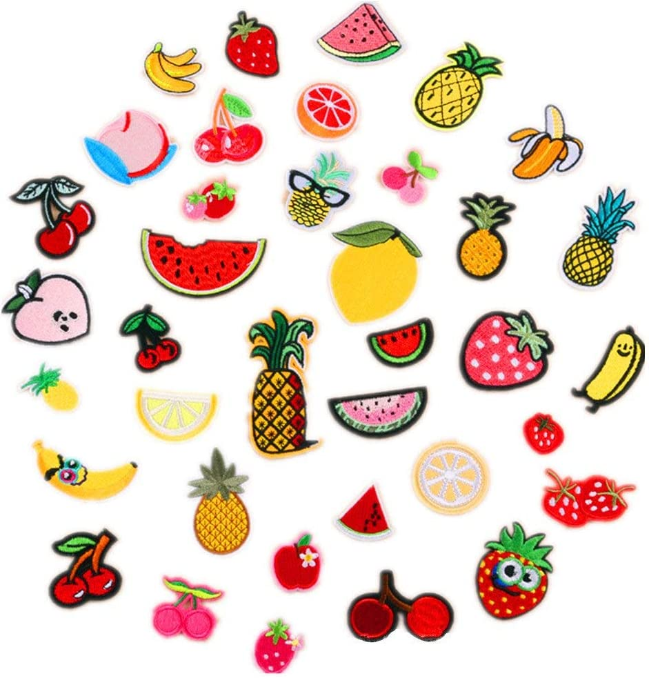 Assorted 37pcs Banana Orange Apple Strawberry Watermelon Pineapple Iron on Patches Fruit Embroidered Appliques Decorative Repair Motif DIY Sew on Patches for Jeans Clothing