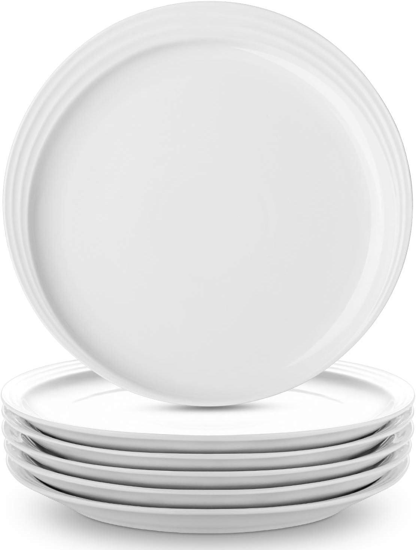 DOWAN Dinner Plates White Salad Plates Set of 7, Procelain Round Dessert  Serving Dishes 7 inch