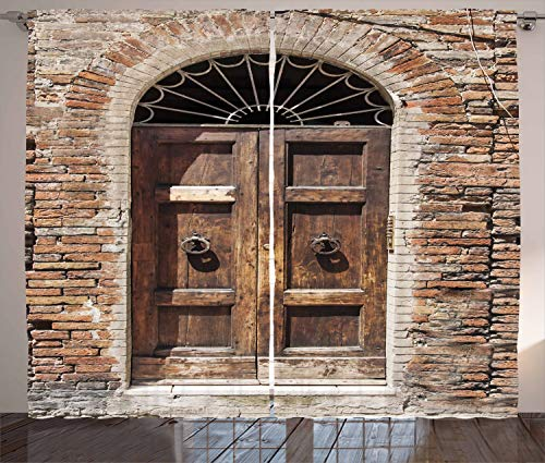 Ambesonne Tuscan Decor Collection, Antique Looking Window on Ancient Stone Wall Photography, Window Treatments, Living Room Bedroom Curtain 2 Panels Set, 108 X 84 Inches, Brown Ivory Peru