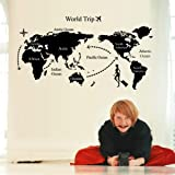 World Map Trip Black Simple Diy Wall Stickers Art Decor Mural Room Decal Decals Sticker