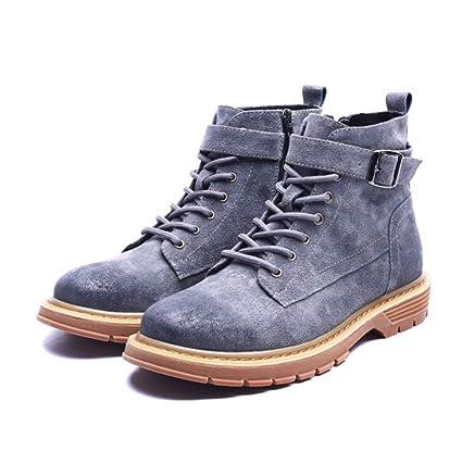 SHANGWU Botines Martin Boots para Hombre nuevos Zapatos Inglaterra para Hombre Botas de Trabajo Casual Botines
