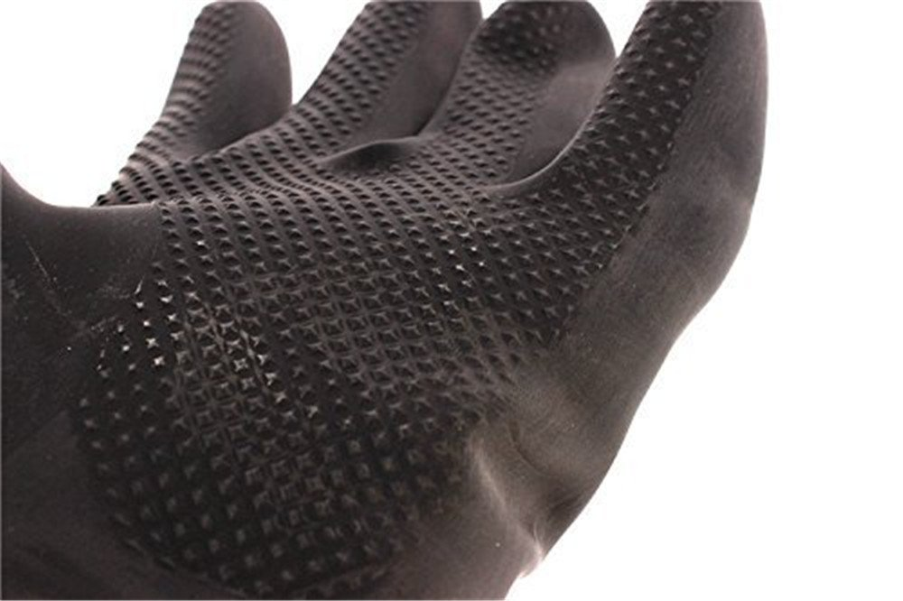 Katoot@ Powder Free Chemical Resistant Rubber Gloves Large Rolled Beaded Cuff,Acid Oil Resistant Working Hands 23.62 inch, Black 1 Pairs/Pack (Black) by Katoot (Image #2)