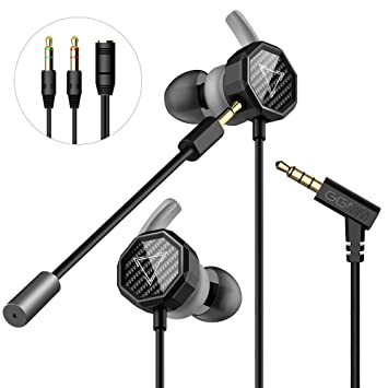 Gaming Earbuds, GGMM Stereo in-Ear Gaming Earphones with Detachable Dual  Mic Volume Control Wired Headphones with 3 5mm Jack for Mobile Gaming