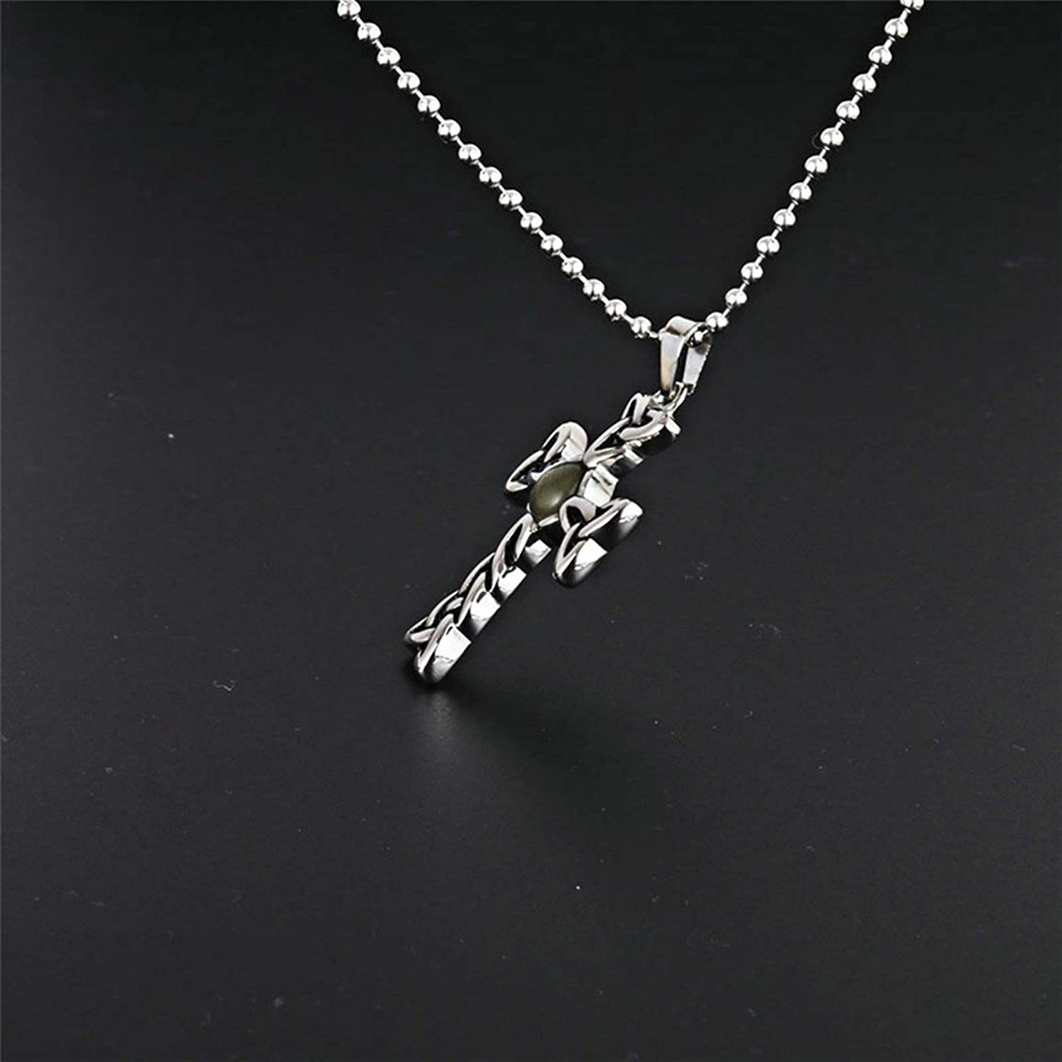 Epinki Stainless Steel Women and Men Necklace Woven Cross Shape Pendant Women Necklace Men Necklace Silver with Cubic Zirconia
