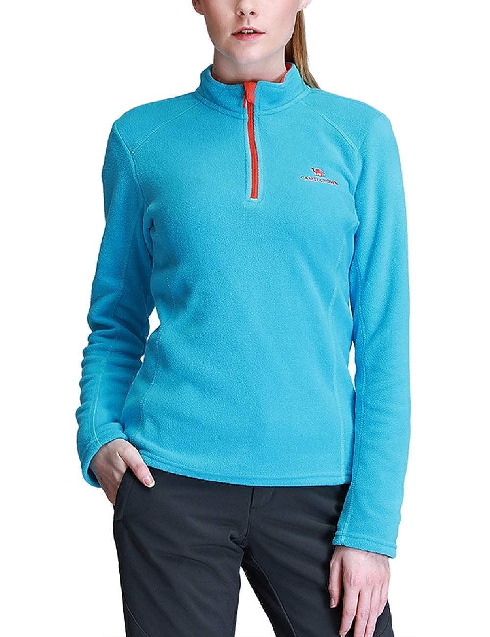 CAMEL CROWN Damen Fleece 1/4 Reißverschluss Fleecejacke Pullover Langärmlig Ski Shirt Sweatshirt für Damen