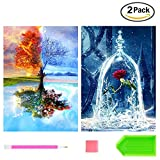 #10: 2 Pack DIY Diamond Painting Kits for Adults, Kpow 5D Diamond Painting Full Drill Paint with Diamonds Four Seasons Tree & Rose for Home Wall Decor By Number Kits (12X16inch)
