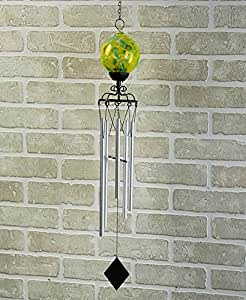 Glass Color-Swirl Solar Wind Chime , Yellow