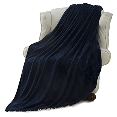 Moonen Flannel Blanket Luxurious Queen Size Lightweight Plush Microfiber Fleece Comfy All Season Super Soft Cozy Blanket for Bed Couch and Gift Blankets (Navy Blue, 90x90 Inches)