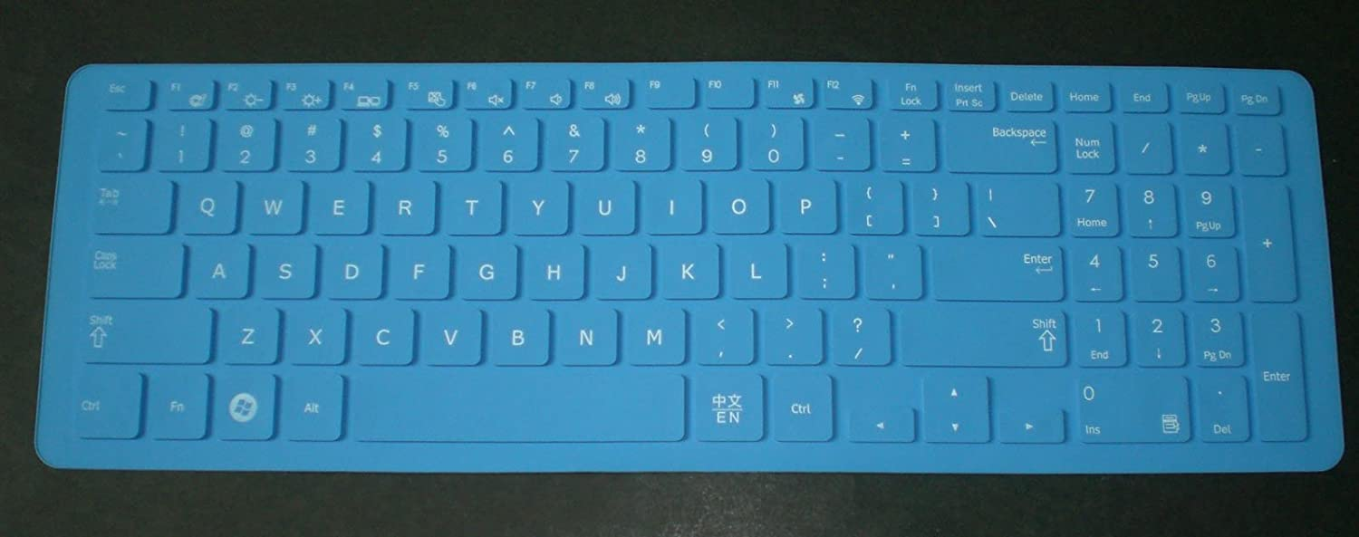 BingoBuy Blue Silicone Keyboard Protector Skin Cover for Smasung NP365E5C NP550P5C NP300E5E NP355V5C NP350E5C NP355E5C NP350V5C NP270E5G NP270E5E series with BingoBuy Card Case for Credit Bank if your enter key looks like 7, our skin cant fit ID C