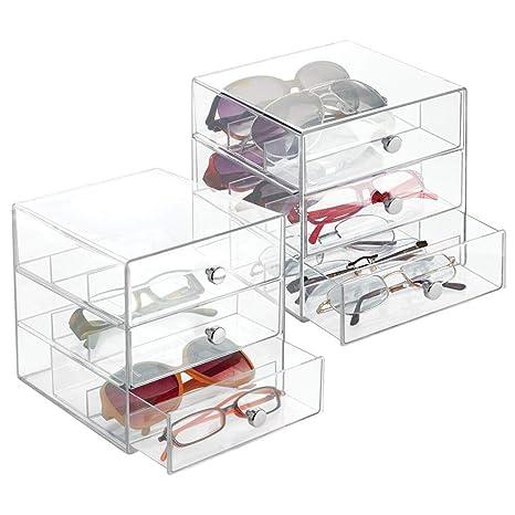 mDesign Juego de 2 guarda gafas con 3 cajones cada uno – Organizador de gafas de vista, de lectura o de sol – Expositor de gafas con subdivisiones ...