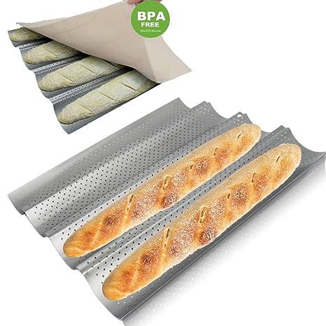 WALFOS Baguette - Juego de sartenes antiadherentes para pan, con revestimiento perforado de baguette,