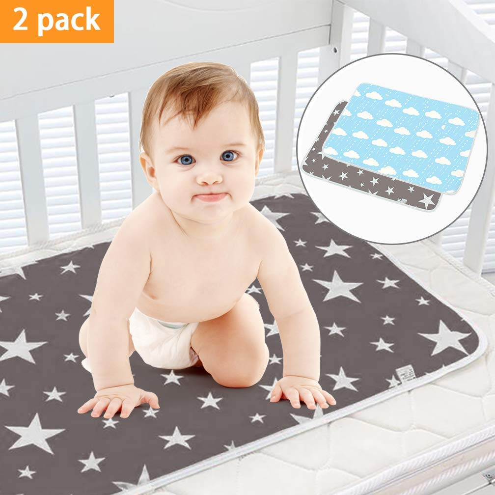 SACONELL 2 Pack Waterproof Change Mats Infants Portable Diaper Changer Mat for Home,Travel and Outside Idefair Pink/&Beige Baby Changing Pad