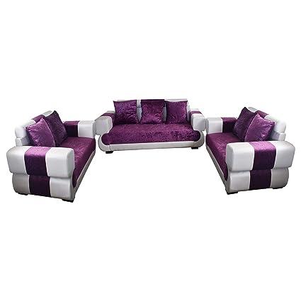 Adhunika Leatherette Purple White Sofa Set Amazon In Home Kitchen