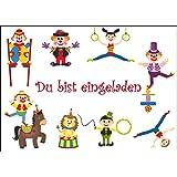 12 Er Set Lustige Zirkus Einladungskarten (10729) Zum Kindergeburtstag Mit  Clown