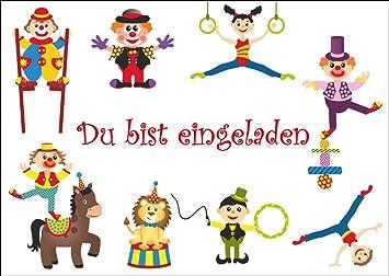 12 Er Set Lustige Zirkus Einladungskarten/Geburtstagseinladungen Kinder  Mädchen Jungen Zum Kindergeburtstag