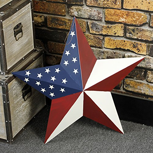 Y&K Decor Patriotic Old Glory American Flag Barn Star Rustic Metal Dimensional 3D Star 4th of July Wall Decor (21'') by YK Decor (Image #6)