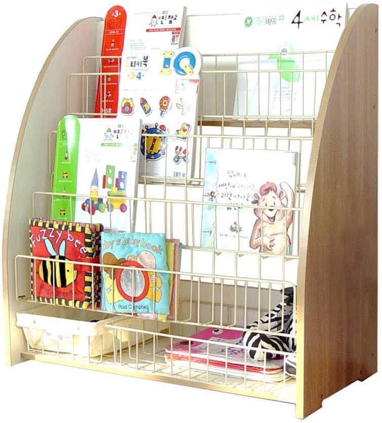 TONGSH ブックシェルフワイヤーカウンタートップ文学ラック、6層パンフレットオーガナイザー、幼児向けブックオープンシェルフ