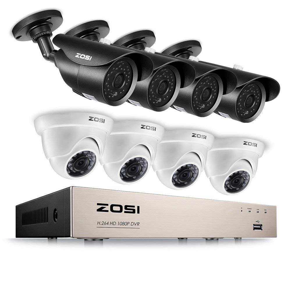 ZOSI Full HD 1080P Security Camera System 8CH Surveillance Recorder DVR (8) 2.0MP Bullet & Dome Surveillance Cameras, Outdoor Indoor Using, Quality Night Vision, Smartphone & PC Remote Viewing by ZOSI