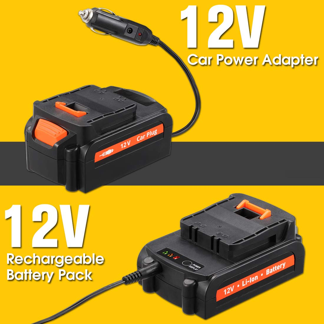 REXBETI Tire Inflator, Portable 12V Cordless Air Compressor for Tires, with Rechargeable Lithium-ion Battery and 12V Car Power Adapter, Easy to Read Digital Pressure Gauge, LED Lighting, 150PSI by REXBETI (Image #5)