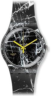 Swatch Quartz Plastic and Silicone Casual Watch, Color:Black (Model: SUOB123)