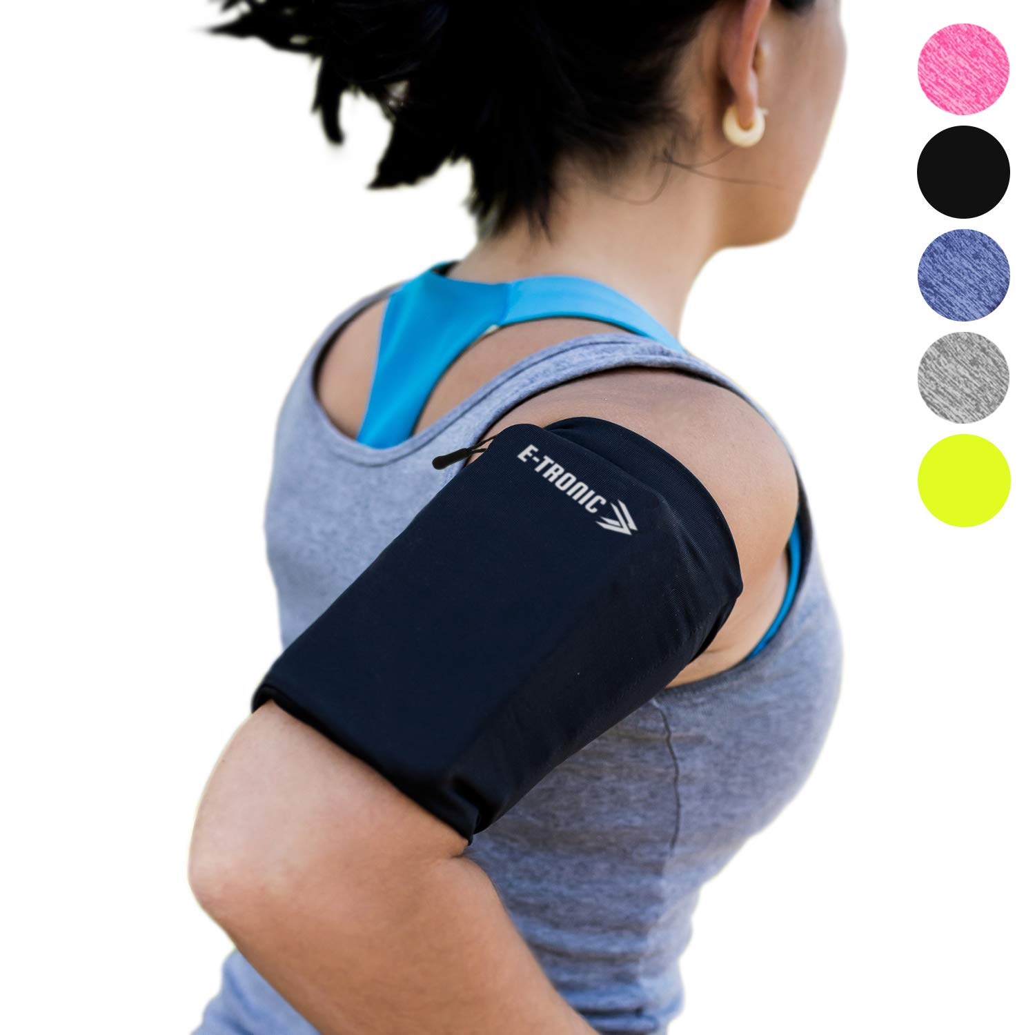 Phone Armband Sleeve Best Running Sports Arm Band Strap Holder Pouch Case Gifts for Exercise Workout Fits iPhone 6 6S 7 8 X Plus iPod Android Samsung Galaxy S8 S9 Note 5 9 Edge. For Women & Men MEDIUM by E Tronic Edge