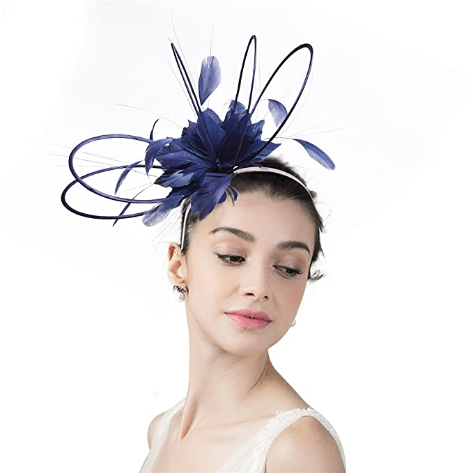 Lawliet Navy Blue Womens Sinamay Circle Floral Feather Wedding Party ... aa000f4bb45c