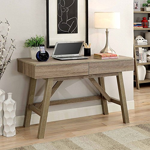 Tracey Two Drawer Writing Desk - 47''W Rustic Gray Laminate Dimensions: 47.09''W x 21.26''D x 31.1''H Weight: 81 lbs by Linon Home Decor Products, Inc