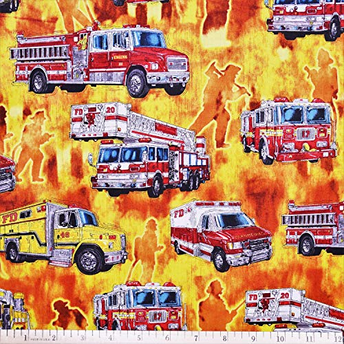 - Firemen Fabric 5 Alarm Fire Trucks Flames in Orange/Yellow from Quilting Treasures 100% Premium Cotton Fabric by The Yard