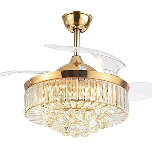 SenHome 42inch Crystal Ceiling Fan Light LED Chandelier Crystal Acrylic Retractable Blade Ceiling Lamp Rose Gold Chandelier Fan for Living Room Dining Room Hall