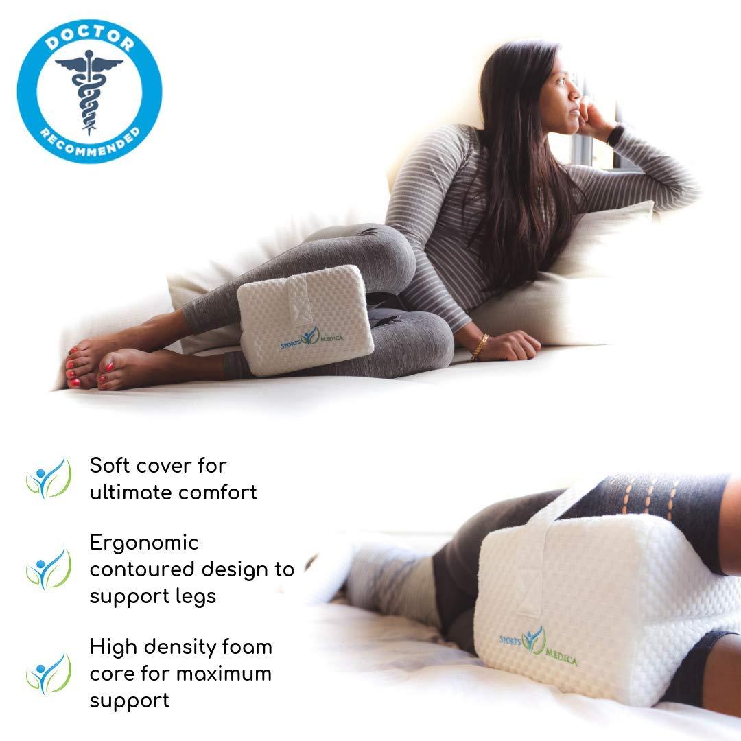 Almohada de espuma de memoria con la correa para pierna - DOCTOR Recomendado para la ciática, el embarazo, la espalda, la rodilla y la cadera de dolor ...