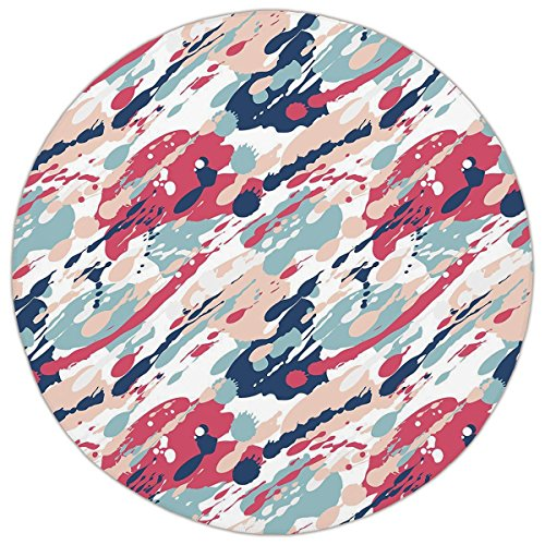 Round Area Rug Mat Rug,Navy and Blush,Abstract Pastel Color Splashes Artistic Dirty Look Liquid Splat Drops Print Decorative,Multicolor,Home Decor Mat with Non Slip Backing