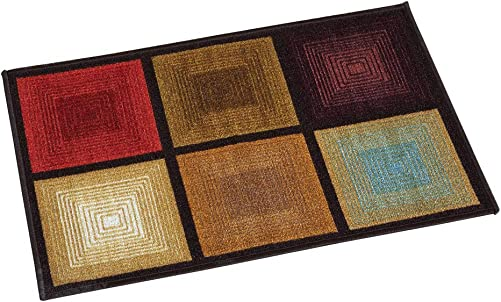 Collections Etc Optic Squares Skid-Resistant and Nonslip Accent Rug